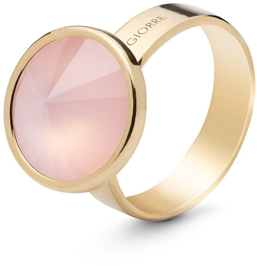 Srebrny pierścionek z kwarcem, srebro 925 : Kamienie naturalne - kolor - kwarc różowy antyczny, ROZMIAR PIERŚCIONKA - 13 UK:N 16,67 MM, Srebro - kolor pokrycia - Pokrycie żółtym 18K złotem