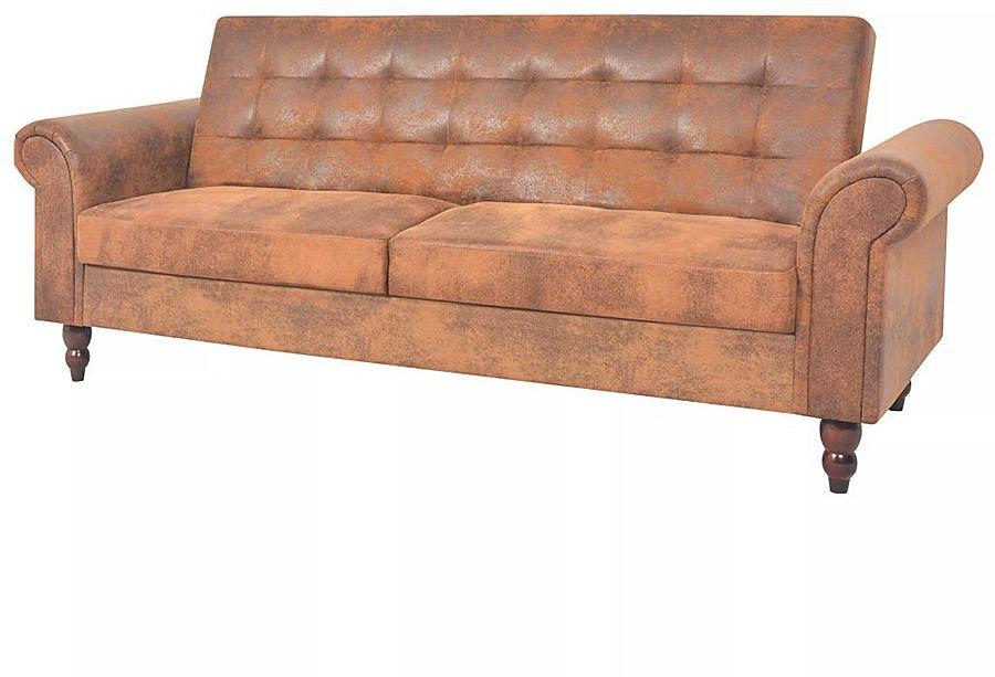 Rozkładana pikowana brązowa sofa - Image