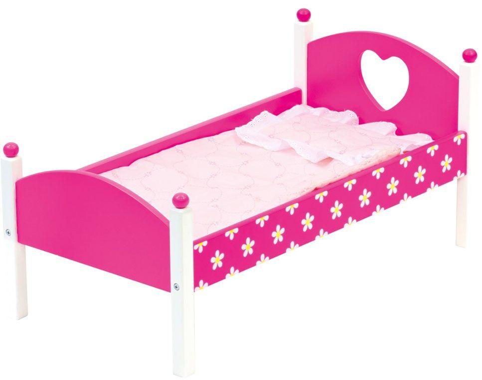 Bino 83700 łóżeczko dziecięce z materacem, różowa pościel, koc i poduszka. Rozmiar ok. 57 x 29,5 x 26,5 cm, wielokolorowa