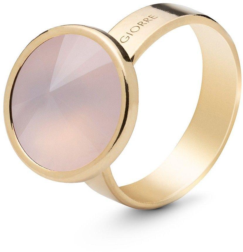 Srebrny pierścionek z kwarcem, srebro 925 : Kamienie naturalne - kolor - kwarc różowy jasny, ROZMIAR PIERŚCIONKA - 13 UK:N 16,67 MM, Srebro - kolor pokrycia - Pokrycie żółtym 18K złotem