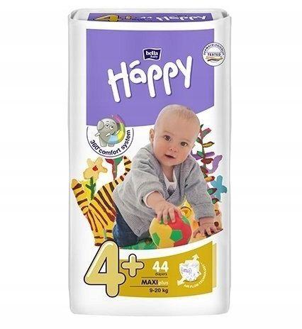 Bella Happy Rozmiar 4+ Maxi, 44 pieluszki, 9-20 kg