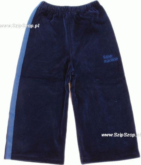 Spodnie dresowe welurowe dla dzieci z lampasami granat Super Machine