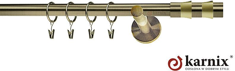 Karnisze nowoczesne NEO pojedynczy 19mm Fresno antyk mosiądz
