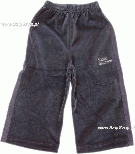 Spodnie dresowe welurowe dla dzieci z lampasami stalowe Super Machine