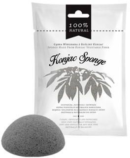 Gąbka z rośliny konjac do mycia twarzy i ciała czarna Konjac Sponge