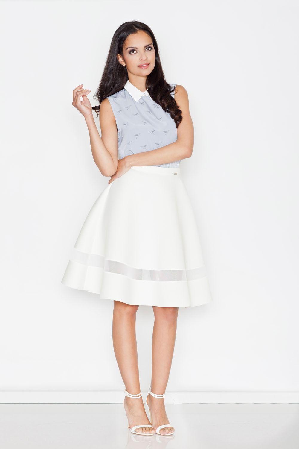 Ecru elegancka rozkloszowana spódnica z ozdobną wstawką