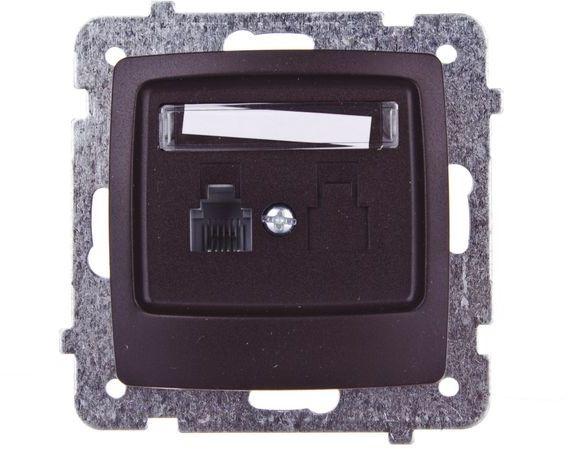 KARO Gniazdo telefoniczne pojedyncze RJ11 czekoladowy metalik GPT-1S/m/40