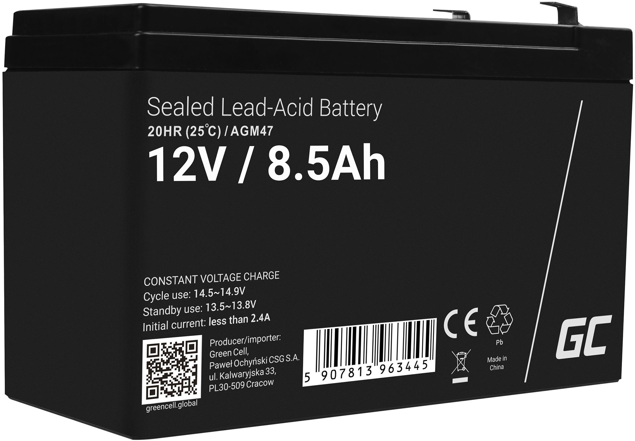 Green Cell AGM VRLA 12V 8.5Ah bezobsługowy akumulator do systemu alarmowego kasy fiskalnej zabawki