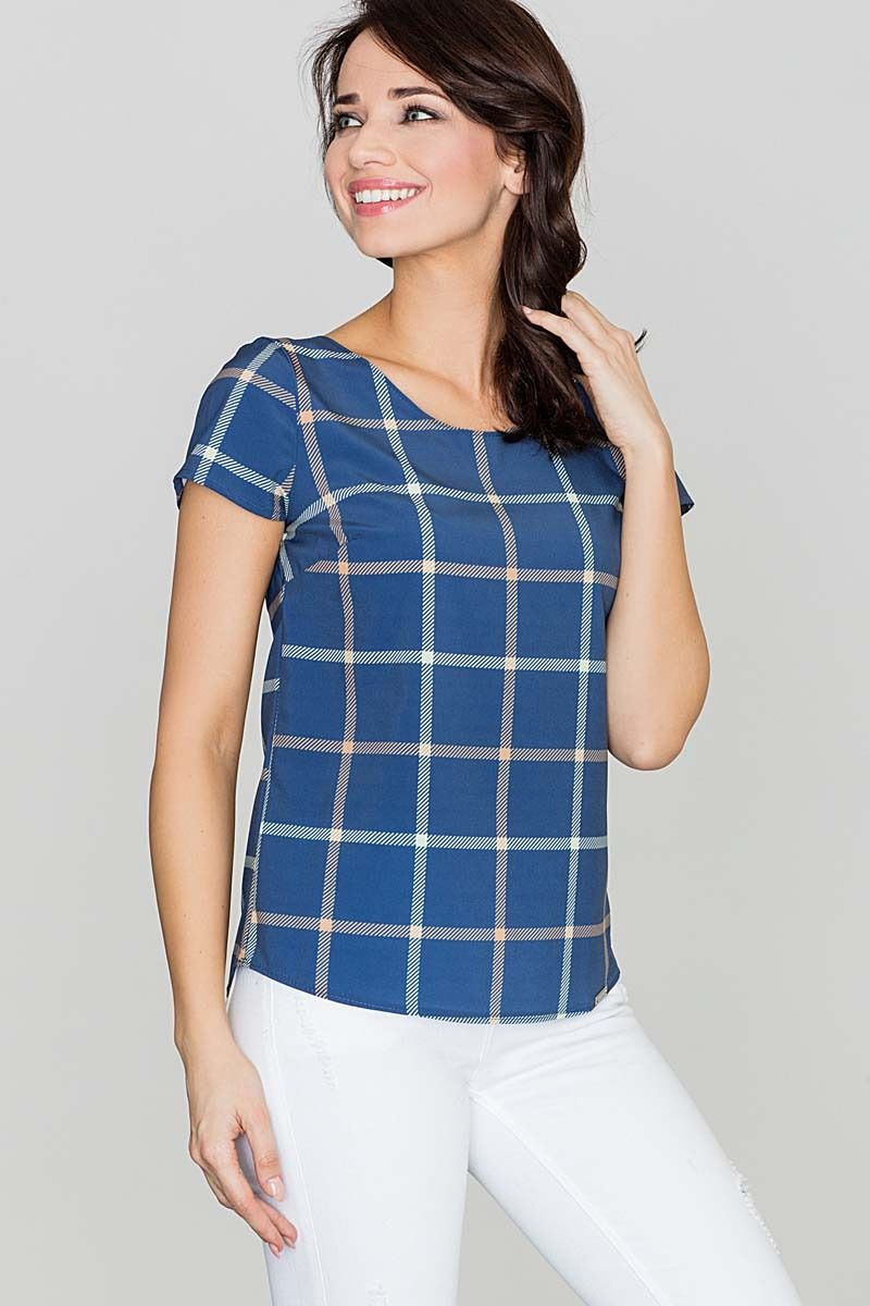 Niebieska bluzka w kratę z krótkim rękawem
