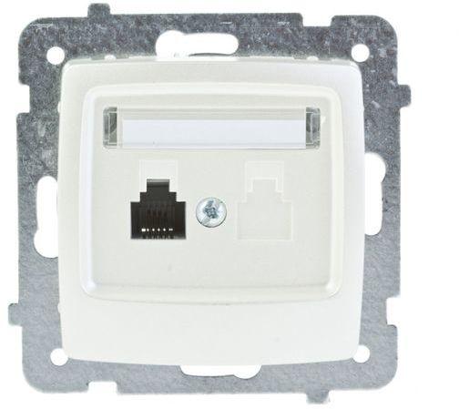 KARO Gniazdo telefoniczne pojedyncze RJ11 ecru perłowy GPT-1S/m/42