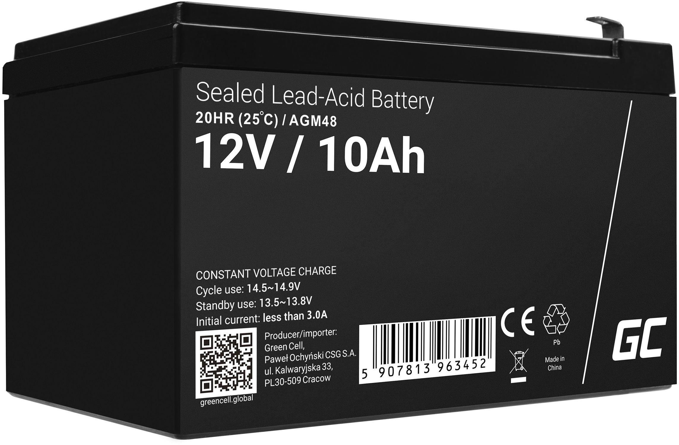 Green Cell AGM VRLA 12V 10Ah bezobsługowy akumulator do zasilaczy awaryjnych UPS systemów zasilania awaryjnego UPS