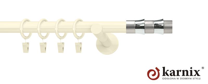 Karnisze nowoczesne NEO pojedynczy 19mm Fresno ivory (kość słoniowa)
