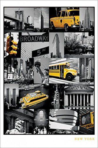 1art1 56659 Nowy Jork - Zabytki Kolażu, Most Brookliński, Word Trade Center, Yellow Cab Plakat, 91 x 61 cm