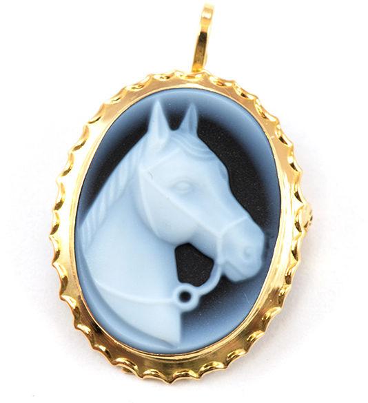 Złota broszka 585 niebieski kamea Koń 1g