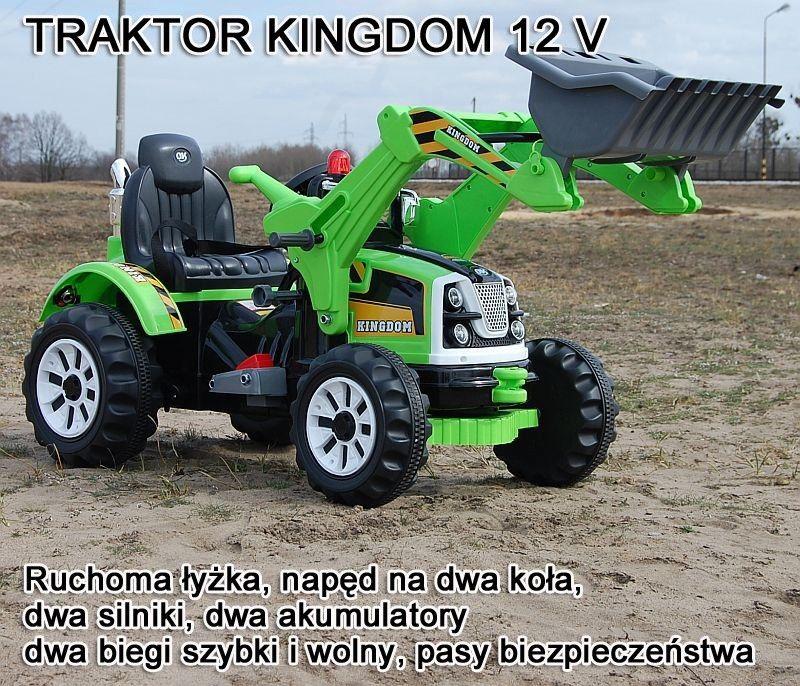 MOCNY TRAKTOR Z ŁYŻKĄ KINGDOM 12V DWIE PRĘDKOŚCI/JS328A