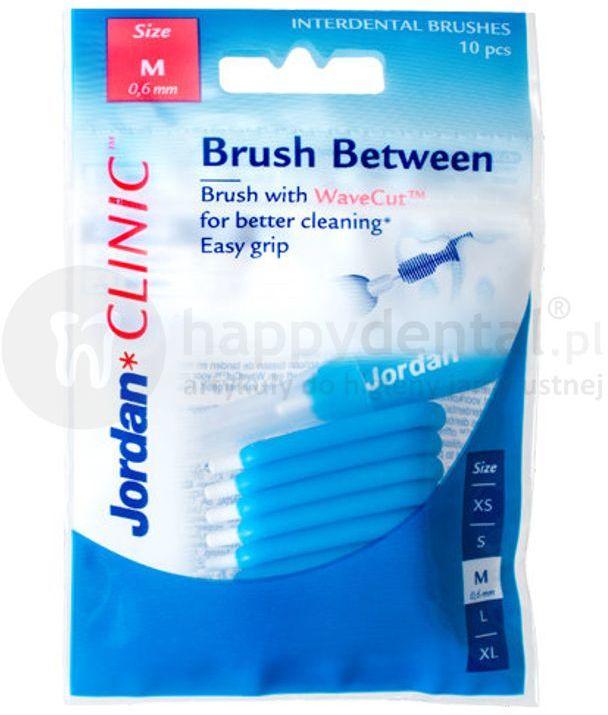 JORDAN CLINIC Brush Between M (0,6-3,5mm) NIEBIESKIE 10szt. - zestaw specjalistycznych szczoteczek międzyzęnowych