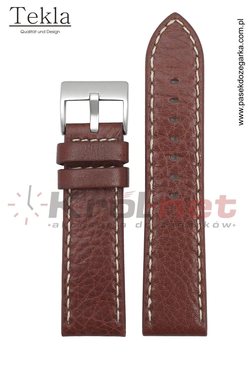 Pasek TK002BR/B/22 - brązowy, białe przeszycia