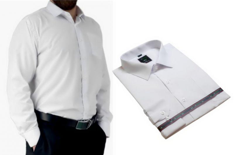 Biała koszula męska elegancka Laviino długi rekaw