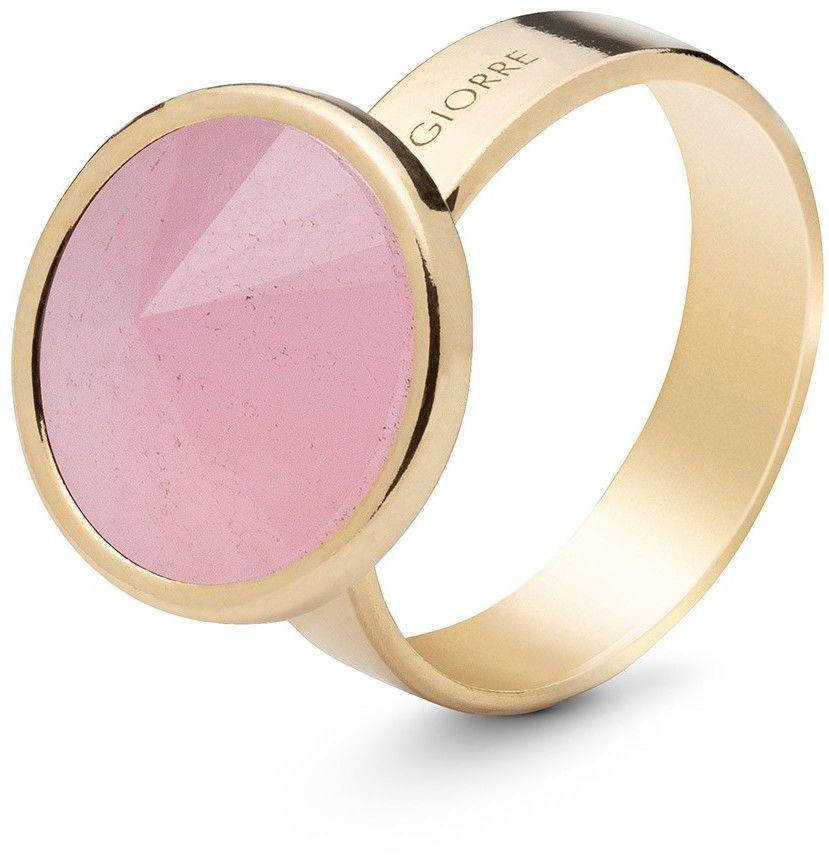 Srebrny pierścionek z kwarcem, srebro 925 : Kamienie naturalne - kolor - kwarc różowy, ROZMIAR PIERŚCIONKA - 17 UK:R 18,00 MM, Srebro - kolor pokrycia - Pokrycie żółtym 18K złotem