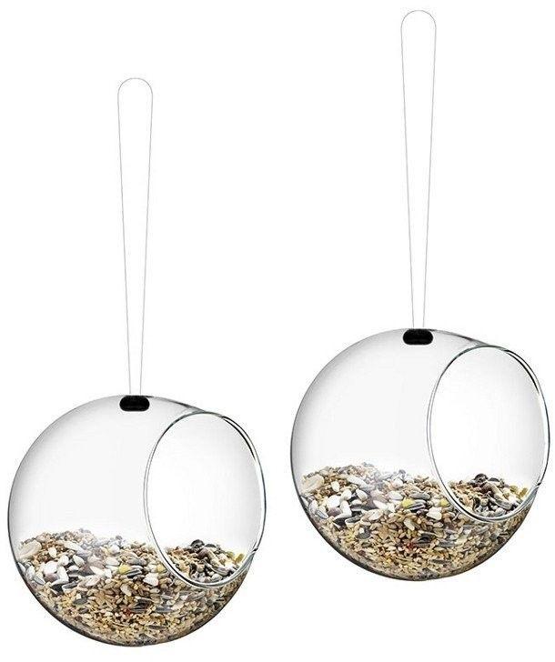Eva solo - mini karmnik dla ptaków wiszący szklany - 2 szt