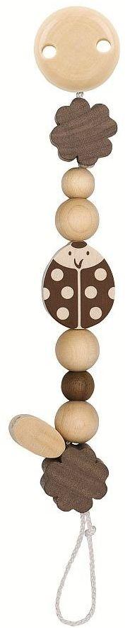 Drewniany łańcuszek do smoczka z klipsem Biedronka retro 764080-Heimess Nature, prezent dla niemowlaka