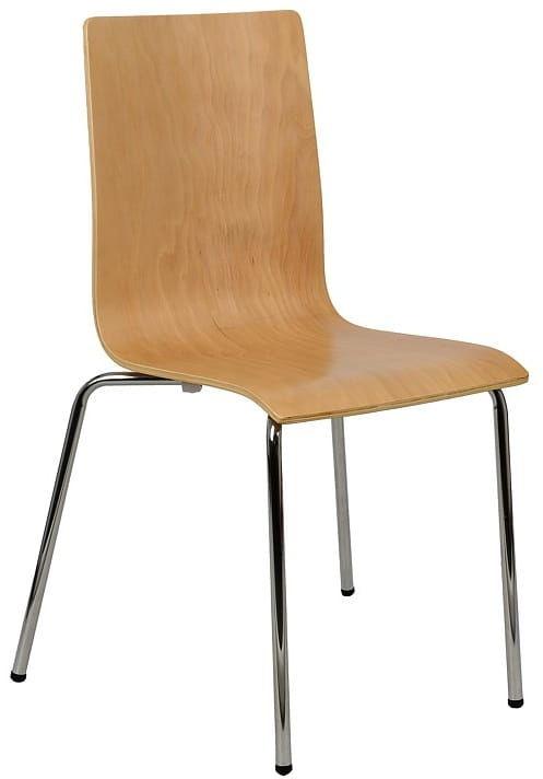 Krzesło ze sklejki, stelaż chromowany. Model TDC-132.