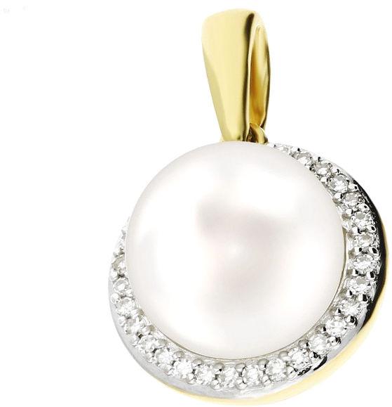 Złota przywieszka 585 biała perła z diamentami 14kt