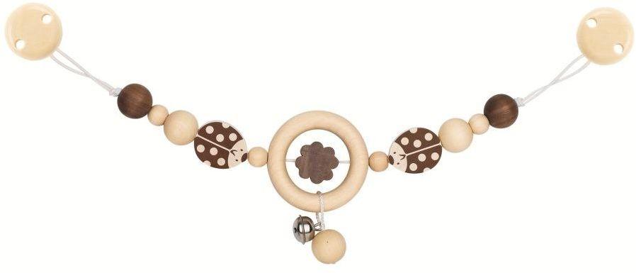 Drewniana zawieszka do wózka z dzwoneczkiem Naturalne biedroneczki 763990-Heimess, prezent dla niemowlaka