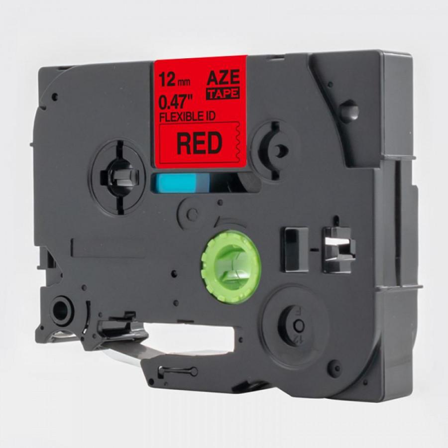 Taśma zamiennik Brother TZ-S431 / TZe-S431, 12mm x 8m, mocno klejący, czarny druk / czerwony podkład