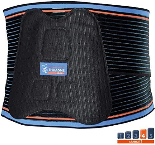 Bandaż podpierający lędźwiowy Thuasne Sport - czarny/niebieski/pomarańczowy - rozmiar M (71-86 cm)