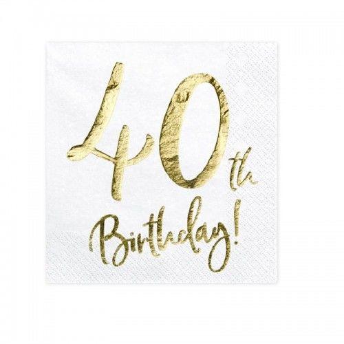 Serwetki na 40 urodziny GOLD
