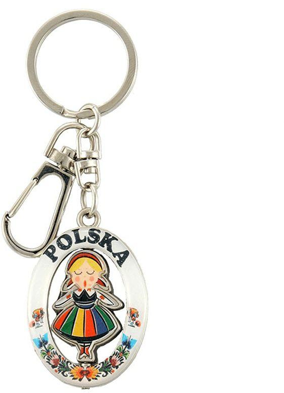 Brelok metalowy dziewczynka folk Polska