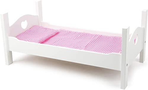 Small Foot 11212 łóżko dla lalek z białego drewna, w zestawie z uroczymi praniami, zabawki na rolkach, wielokolorowe