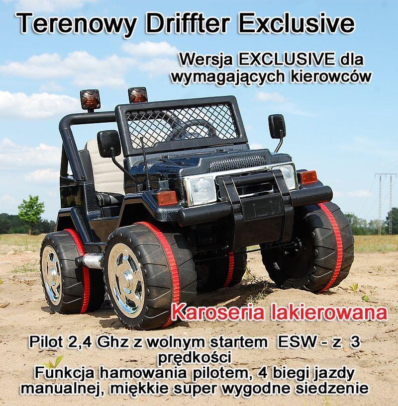 MEGA JEEP DRIFFTER EXCLUSIVE DLA 2 DZIECI, WOLNY START/ LAKIER. MIĘKKIE SIEDZENIE HP-011