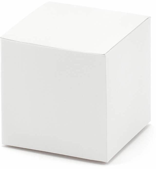 Pudełeczka kwadratowe dla gości białe - 10 szt.