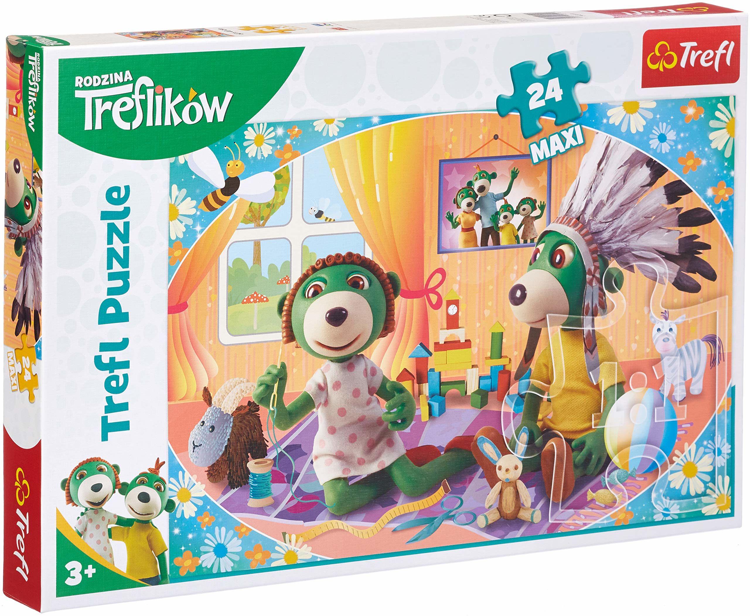 Trefl Bawmy się Razem Puzzle 24 Maxi o Wysokiej Jakości Nadruku dla Dzieci od 3 lat z Bohaterami Bajki Rodzina Treflików