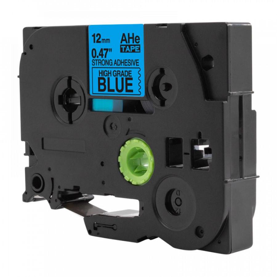 Taśma zamiennik Brother TZ-S531 / TZe-S531, 12mm x 8m, mocno klejący, czarny druk / niebieski podkład