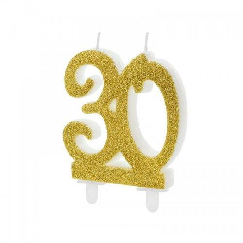 Świeczka na tort, 30 urodziny GOLD