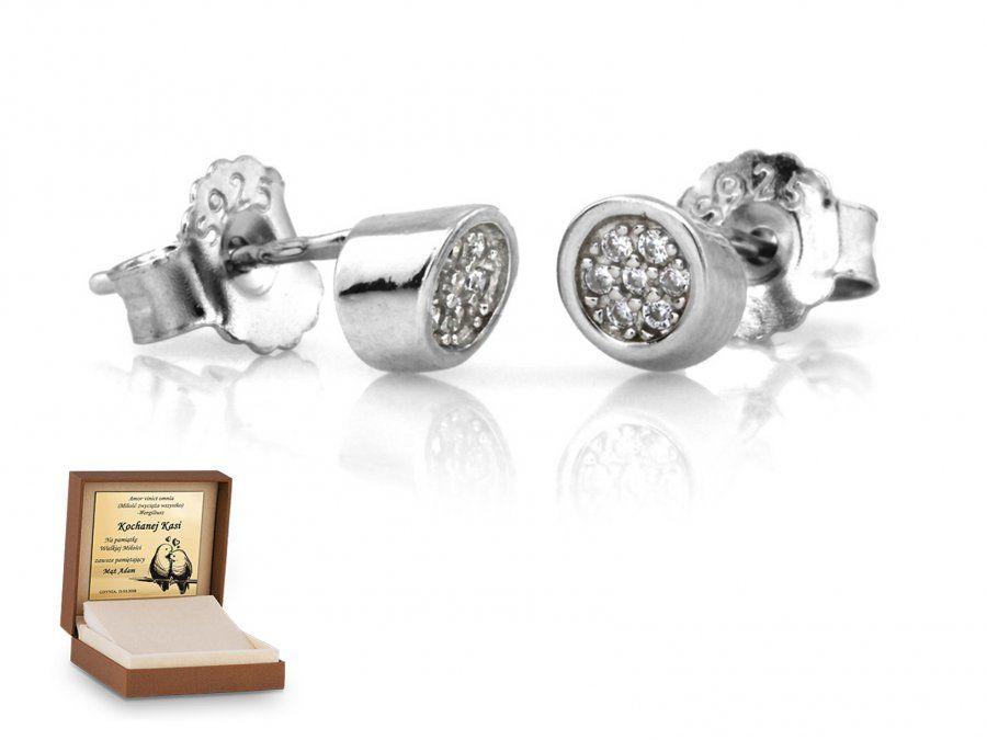 Srebrne kolczyki 925 na sztyft prezent grawer