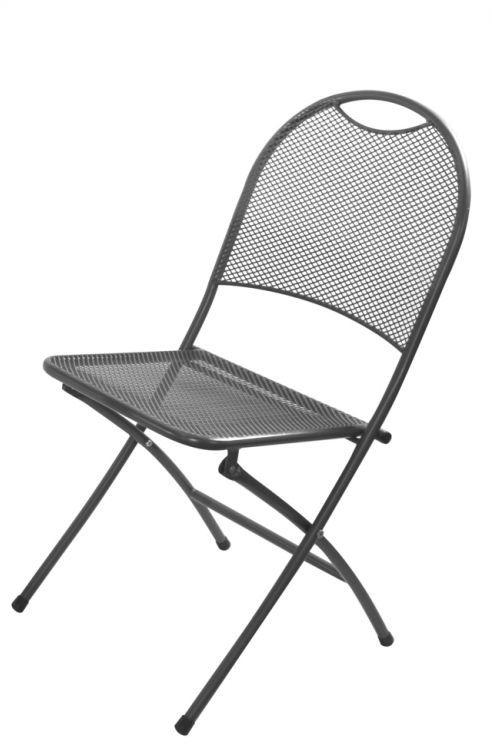 Metalowe składane krzesło ogrodowe - czarne