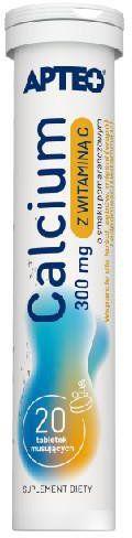 Calcium 300mg + witaminą C smak pomarańczowy 20 tabletek musujących Apteo