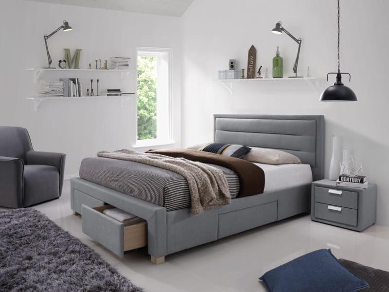 Łóżko INES 160x200 szare z szufladami