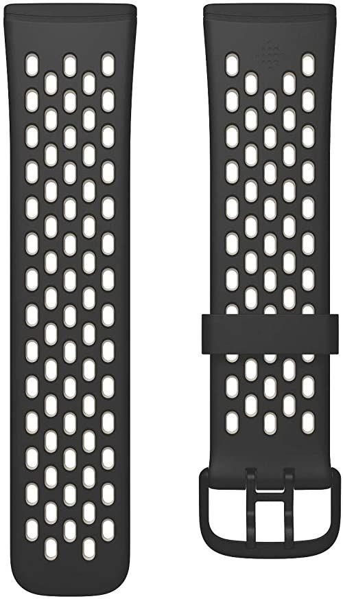 Fitbit Versa 3/Sense sportowa opaska akcesoria czarny/księżycowy biały, duży
