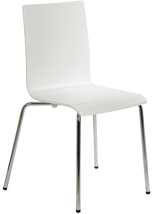 Krzesło ze sklejki w kolorze białym, stelaż chromowany. Model TDC-132.