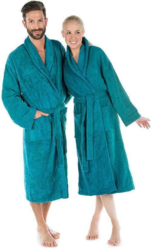 CelinaTex Oregon szlafrok kąpielowy z kołnierzem szalowym, turkusowy, bawełna, szlafrok do sauny, damski, męski, szlafrok frotowy