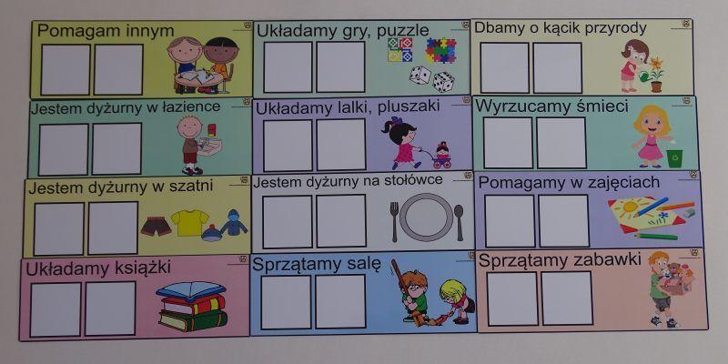 Plakietki dyżurów w przedszkolu