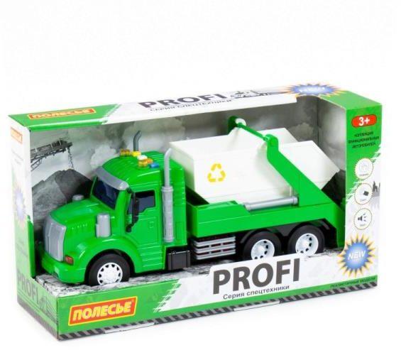"""Polesie 86259 """"Profi'' samochód z napędem, zielony do przewozu kontenerów, światło, dźwięk w pudełku (86259 POLESIE)"""
