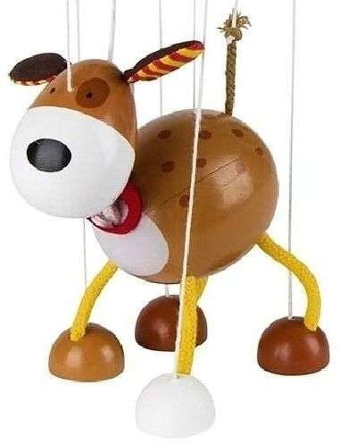 Drewniana marionetka, Piesek Łatek, 51755-goki, zabawki drewniane