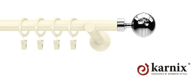 Karnisze nowoczesne NEO pojedynczy 19mm Kula Elegant ivory (kość słoniowa)