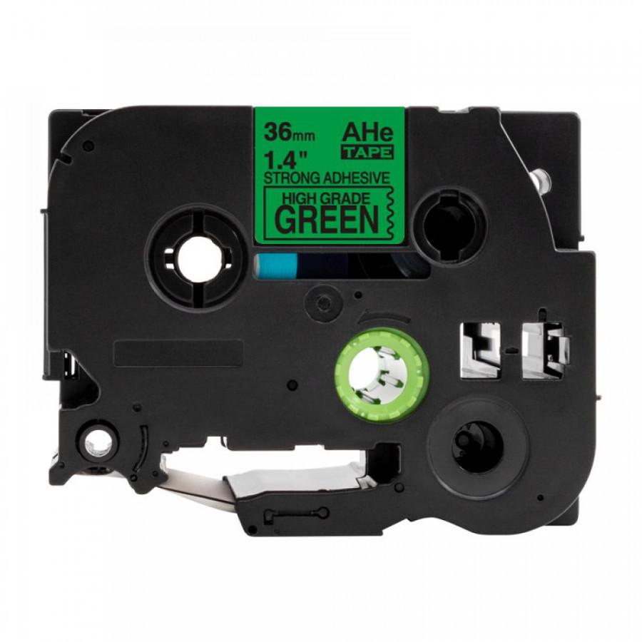 Taśma zamiennik Brother TZ-S761 / TZe-S761, 36mm x 8m, mocno klejący, czarny druk / zielony podkład